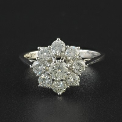 50'S EXTRA FINE 1.45 CT G VVS DIAMOND VINTAGE DAISY RING!