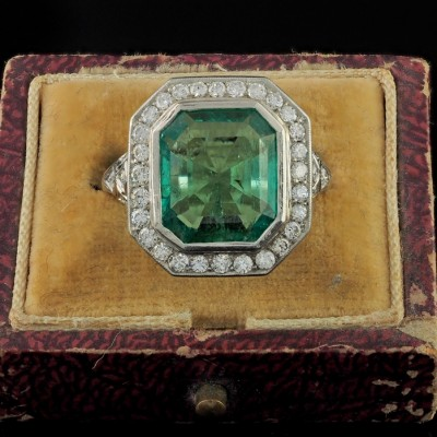 OUTSTANDING BELLE EPOQUE 5.40 CT COLOMBIAN EMERALD  DIAMOND PLATINUM RING!
