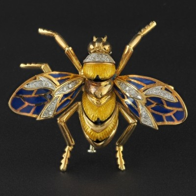 SENSATIONAL  VINTAGE BUMBLE BEE DIAMOND PLIQUE A JOUR LARGE BROOCH!