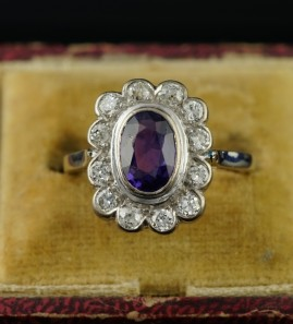 FINE ART DECO AMETHYST & DIAMOND AUSTRO HUNGARIAN RING 1920!