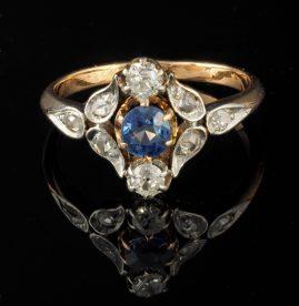 DELIGHTFUL VICTORIAN 1.60 CT SAPPHIRE DIAMOND RING AUSTRO HUNGARIAN MARKS!