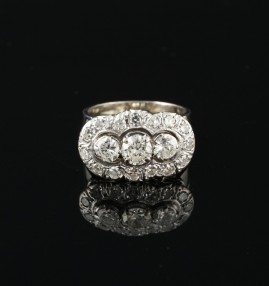 DELIGHTFUL ORIGINAL ART DECO 1.75 CT DIAMOND TRILOGY RING 1935 CA!
