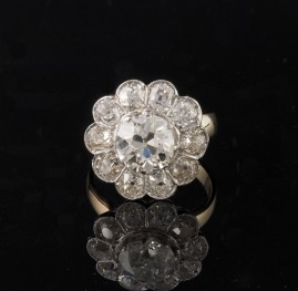 GENUINE ART DECO 4.60 CT OLD MINE CUT DIAMOND PLATINUM RARE DAISY RING!