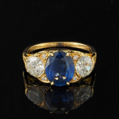 SPECTACULAR VICTORIAN 2.60 CT NO HEAT SAPPHIRE 1.40 CT OLD CUT DIAMOND RARE TRILOGY RING