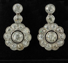 GENUINE ART DECO 9.10 CT OLD CUT DIAMOND RARE PLATINUM EARDROPS WOW!