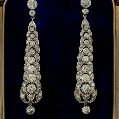 GENUINE ART DECO 4.90 CT OLD CUT DIAMOND RARE PLATINUM DROP EARRINGS!