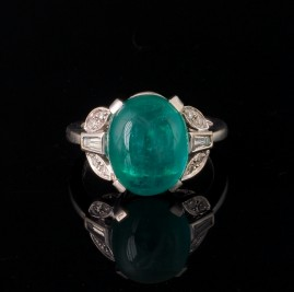 SPECTACULAR 6.90 CT NATURAL EMERALD & DIAMOND RARE VINTAGE RING!