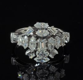 SUPERB 2.10 CT FANCY DIAMOND CUT VINTAGE RING FROM 60'S