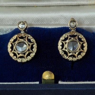 GENUINE VICTORIAN .50 CT ROSE CUT  DIAMOND RARE EARLOBE EARRINGS!