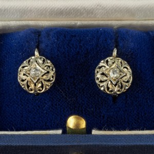 GENUINE EDWARDIAN .30 CT DIAMOND SWEET TINY EAR LOBE DROPS!