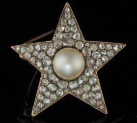 GEORGIAN RARE 3.30 CT ROSE DIAMOND NATURAL PEARL STAR BROOCH PENDANT!