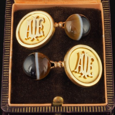 GENUINE VICTORIAN 18KT GENTS NATURAL CATS EYE CUFFLINKS 1880!