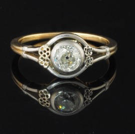 DELIGHTFUL ART DECO .50 CT DIAMOND SOLITAIRE RARE TARGET RING!