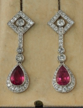 ART DECO HEIRLOOM 5.0 CT NAT. RUBELLITE 2.90 CT DIAMOND PLATINUM DROP EARRINGS!