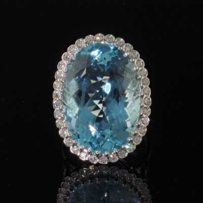 STUNNING JUMBO SIZED 27.0 CT INTENSE BLUE AQUAMARINE & DIAMOND VINTAGE RING!