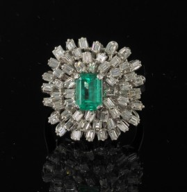 GLAMOROUS 1.20 COLOMBIAN EMERALD 2.80 CT DIAMOND 1960 VINTAGE RING!