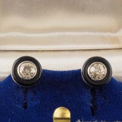 RARE ART DECO .80 CT OLD DIAMOND BLACK ONYX SOLITAIRE STUD EARRINGS!