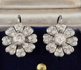 ORIGINAL  ART DECO 3.0 CT DIAMOND PLATINUM DAISY DROP EARRINGS WOW!