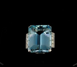 ART DECO 36.0 CT EMERALD CUT AQUAMARINE .80 CT DIAMOND RARE 1935 RING!