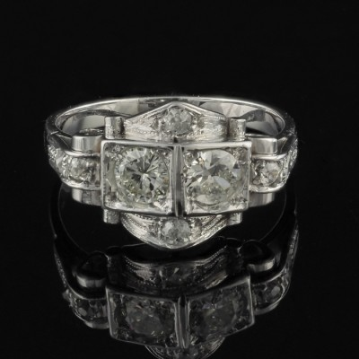 AN EXQUISITE ART DECO .70 CT OLD CUT DIAMOND 1920 RARE RING!