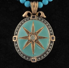 GENUINE VICTORIAN TURQUOISE ENAMEL DIAMOND STAR PENDANT NECKLACE!