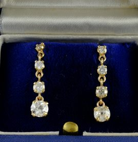 OUTSTANDING EDWARDIAN 1.80 CT OLD MINE DIAMOND DROP EARRINGS 1910CA
