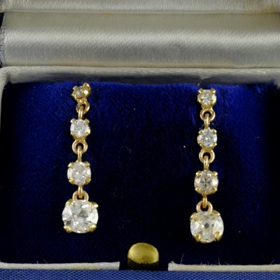 OUTSTANDING EDWARDIAN 1.80 CT OLD MINE DIAMOND DROP EARRINGS 1910CA!