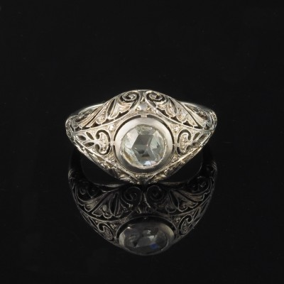 EXQUISTE EDWARDIAN .75 CT DUTCH ROSE CUT DIAMOND SOLITAIRE RING 1910!