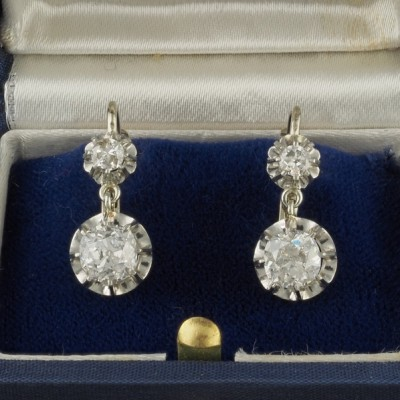 GENUINE ART DECO 2.60 CT. OLD CUT DIAMOND PLATINUM DROP EARRINGS 1920!
