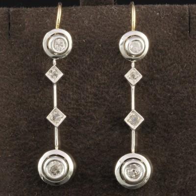GENUINE EDWARDIAN .65 CT OLD CUT DIAMOND RARE TARGET DROP EARRINGS!