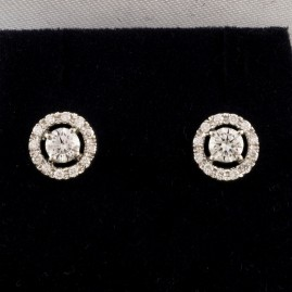 SPECTACULAR VINTAGE .88 CT DIAMOND TARGET STUD EARRINGS!
