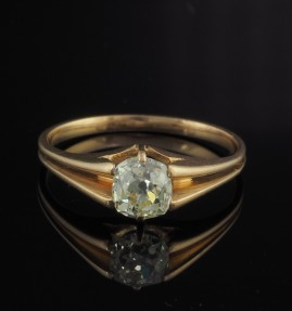 OUTSTANDING VICTORIAN .90 CT OLD MINE DIAMOND SOLITAIRE H VVS2 ROSE GOLD RING!