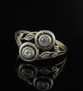 ART NOUVEAU SWEET TARGET DESIGN YOU & ME DAIMOND RING 1900 CA!