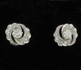 SUPERB LATE ART DECO .90 CT G IF VVS DIAMOND RARE DAISY EARRING 1935 CA!