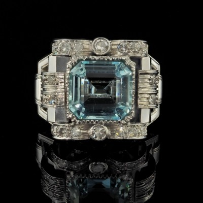 AN ORIGINAL ART DECO 5.20 CT NATURAL AQAUAMARINE 1.20 CT RARE BUCKLE RING 1930 CA!