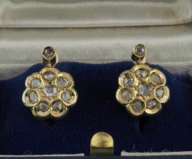 VICTORIAN 1.0 CT ROSE CUT DIAMOND DAISY EARRINGS 1900 CA!