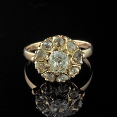 VICTORIAN OUTSTANDING 1.55 CT OLD CUT DIAMOND RARE DAISY RING 1880!