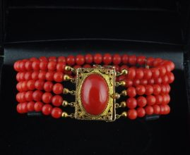 VICTORIAN ITALIAN RARE RED OX BLOOD NATURAL CORAL 14 KT GOLD 1880 BRACELET!