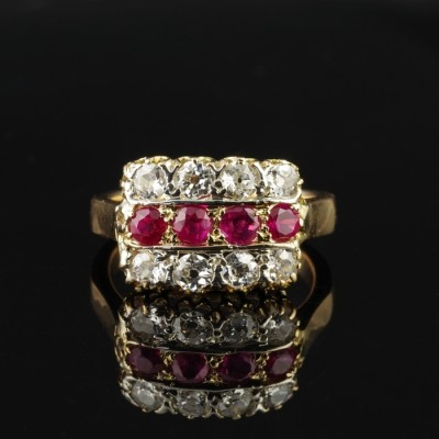 GENUINE VICTORIAN 1.0 CT MOGOK RUBIES 1.60 CT DIAMOND RARE ANTIQUE RING!
