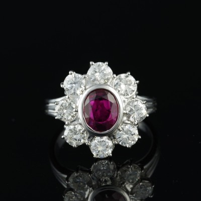 EXTREMELY FINE 1.0 CT NATURAL RUBY 1.60 CT G VVS DIAMONDS QUALITY RING!