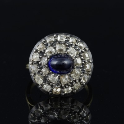 SPECTACULAR GEORGIAN 2.0 CT NATURAL SAPPHIRE 2.40 CT FLEMISH DIAMOND RARE RING 1790!