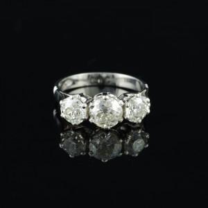 ART DECO PLATINUM  2.61 CT OLD DIAMOND TRILOGY RING – FANTASTIC!