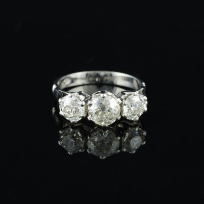 ART DECO PLATINUM  2.61 CT OLD DIAMOND TRILOGY RING – FANTASTIC!