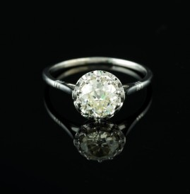 SPECTACULAR ART DECO 1.15 CT FLAWLESS DIAMOND SOLITAIRE ENGAGEMENT RING!