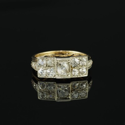 FANTASTIC AUSTRO HUNGARIAN ART DECO  1.60 CT OLD CUSHION DIAMOND RING 1925!