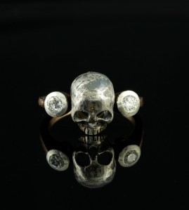 OUTSTANDING GENUINE VICTORIAN MEMENTO MORI DIAMOND SKULL RING ROSE GOLD!