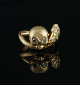 VICTORIAN ROSE GOLD MEMENTO MORI SKULL & SNAKE ROSE CUT RARE RING!