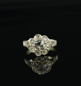 GENUINE VICTORIAN EXQUISITE DUTCH ROSE CUT DIAMOND RARE CLUSTER RING 1880!