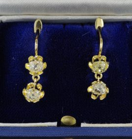 FRENCH 2.0 CT DOUBLE OLD DIAMOND DROP EARRINGS