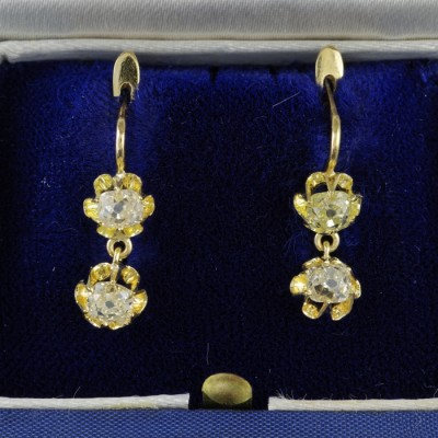 SPECTACULAR VICTORIAN  FRENCH 2.0 CT DOUBLE OLD DIAMOND DROP EARRINGS 1880 CA!